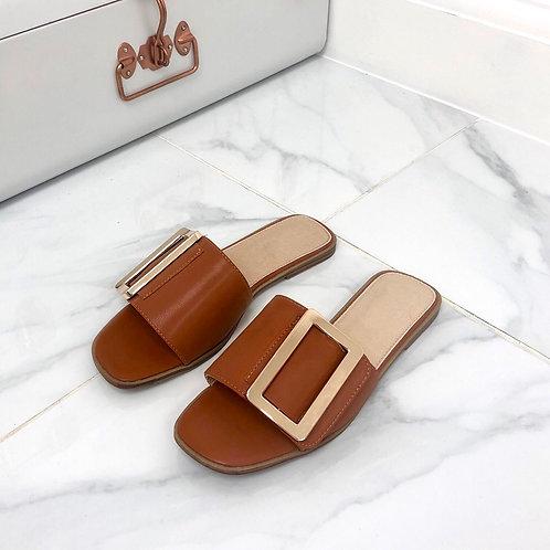 Meera - Tan Square Toe Gold Rectangle Detail Slip On Flat Sandal