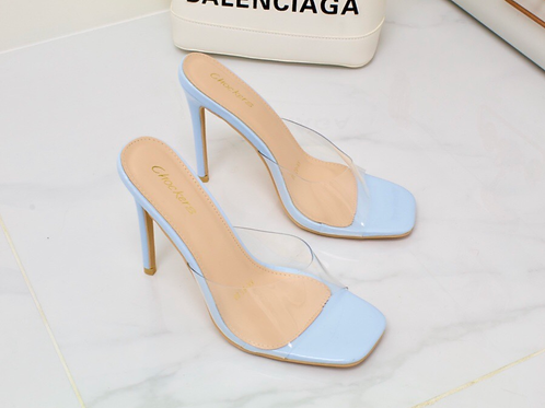 Vienna - Blue Perspex Barely There Square Toe Stiletto Heel