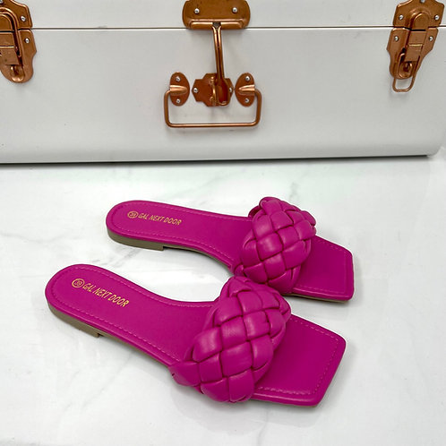 Kirby - Fuchsia Plaited Detail Square Toe Slip On Flat Sandals