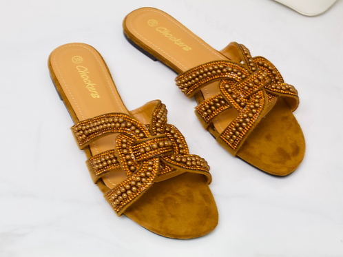 Lexi - Brown Faux Suede Bronze Diamanté Pearl Detail Slider Sandals