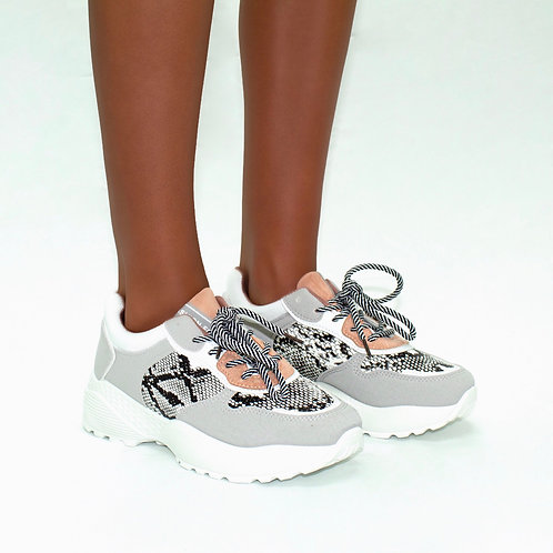 Liza - Grey with Pink Faux Suede with Snake Print White Chunky Sole Trainers