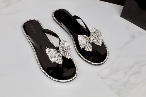 Bella - Black Jelly Diamanté Bow Flat Sandal