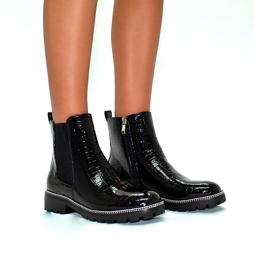 Darrien - Black Patent Croc with Silver Chain Detail Zip Up Ankle Boots