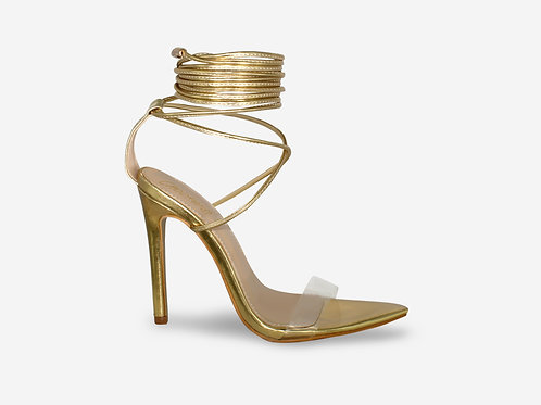 Cara - Gold Metallic Perspex Pointed Toes Tie Up Heel
