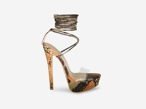 Tarsha - Brown Snake Print Tie Up Platform Heel