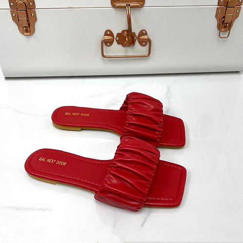 Persia - Red Ruched Square Toe Flat Sandals