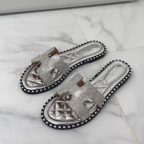 Amelia - Silver Diamanté H Style Flat Slider Sandal