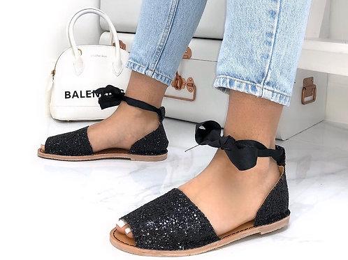 Aariya - Black Glitter Tie Up Flat Peep Toe Sandal