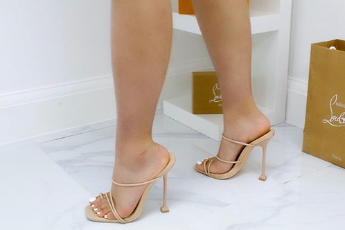 Erin - Nude Barely There Strappy Mule Heel