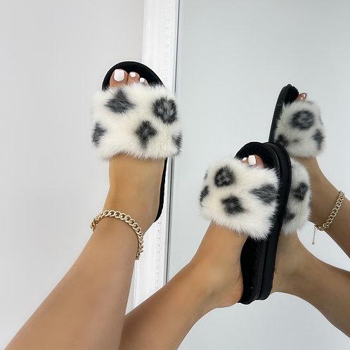 Paris - White Fluffy with Black Velvet Insole Printed Open Toe Slipper Sliders