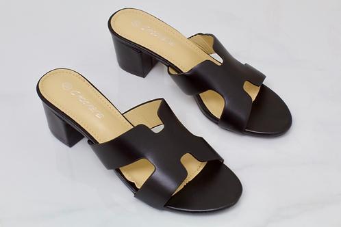 Lillian - Black H Style Low Block Mule Heel
