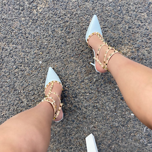 Verity - White Patent with Nude Strappy Gold Studded Pointed Stiletto Heels