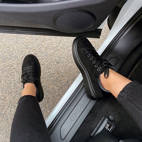 Tokyo - Black Faux Suede Lace Up Chunky Sole Trainer