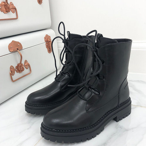 Donna - Black Lace Up Chunky Sole Boots
