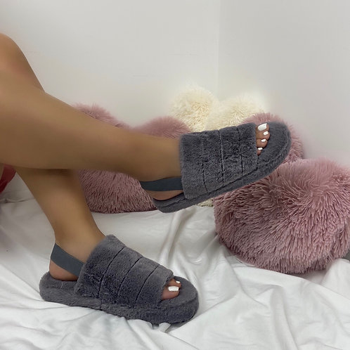 Sky - Grey Fluffy Sling Back Slider Sandals