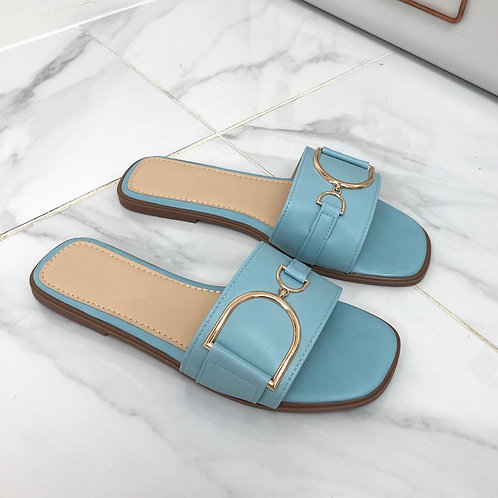 Delilah - Blue with Gold Interlocking D Chain Flat Square Toe Slip On Sandal
