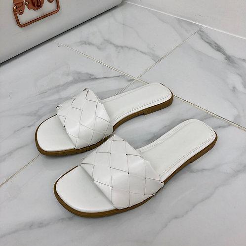 Keke - White Woven Square Toe Flat Slip On Sandals