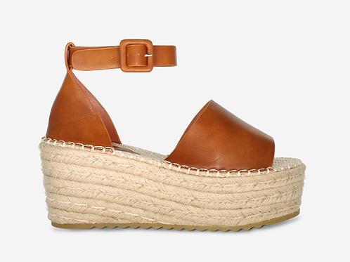 Millie - Tan Ankle Strap Woven Sole Flatform Wedge Sandal