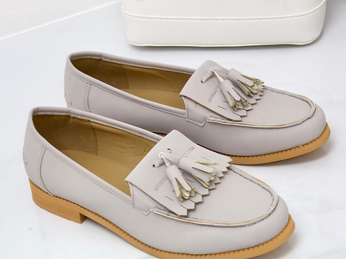 Ava - Light Grey Faux Nubuck Tassle Loafer