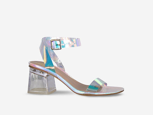 Alice - Iridescent Croc Print Low Block Heel