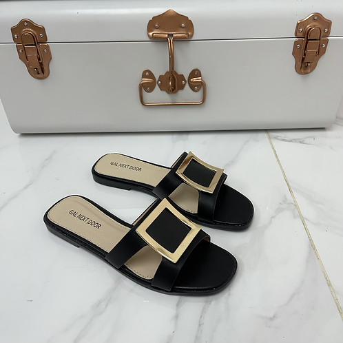 Esmerelda - Black With Gold Square Detail and Cut Outs Flat Slip On Sandals