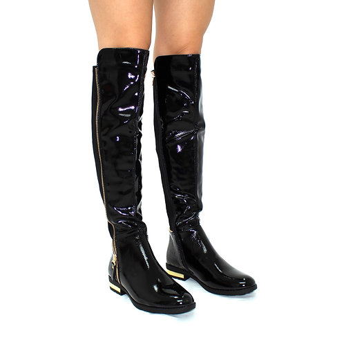 Kiara - Black Patent with Lycra Stretch and Gold Detail Knee High Boots