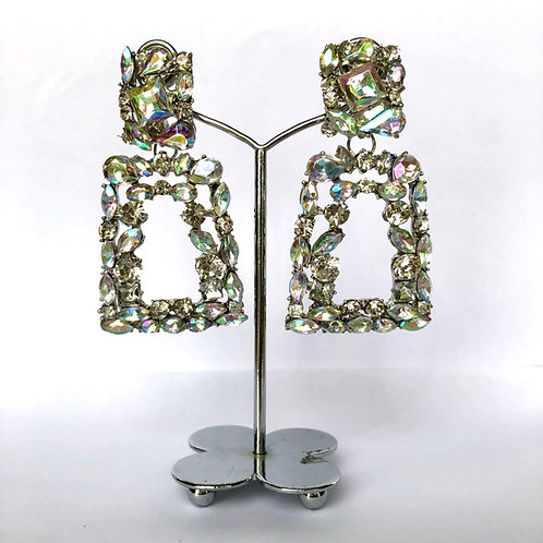 Large Silver/ Multicoloured Frame Jewel Earrings