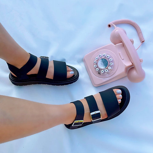Simone - Black Strap on with Silver Buckles Flatform Sandals