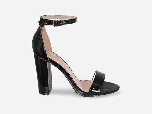 Hannah - Black Patent Strap Block Heel