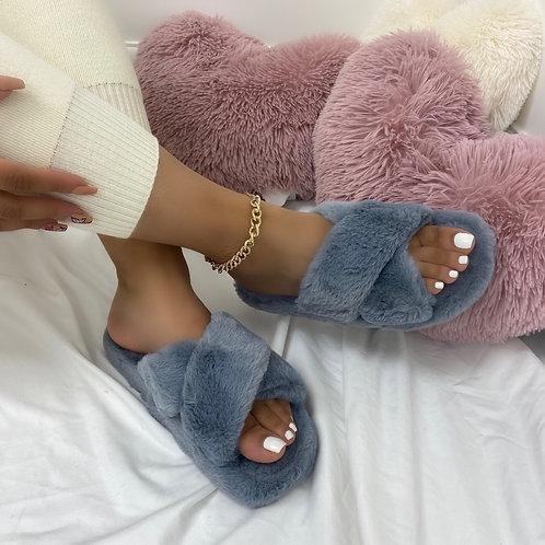 Nala - Grey Fluffy Cross Strap Slippers