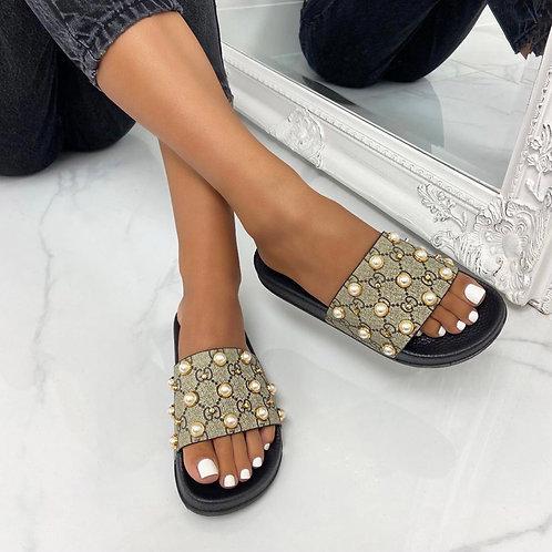 Stormi - Pearl Gold Studded G Slider Sandals
