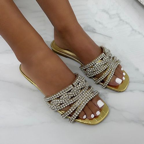 Gina - Gold Patent Croc Print with Silver Diamante Detail Flat Slip On Sandals