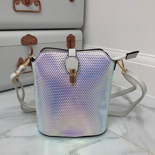 White Iridescent Faux Leather and Gold Clip in Cross Body Zip Up Bag