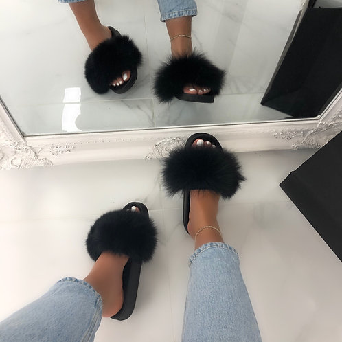 Celine - Black Faux Fur Fluffy Sliders