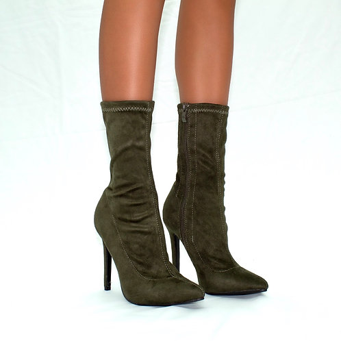 Turner - Khaki Stretch Faux Suede Zip Up Stilletto Heel Ankle Boots