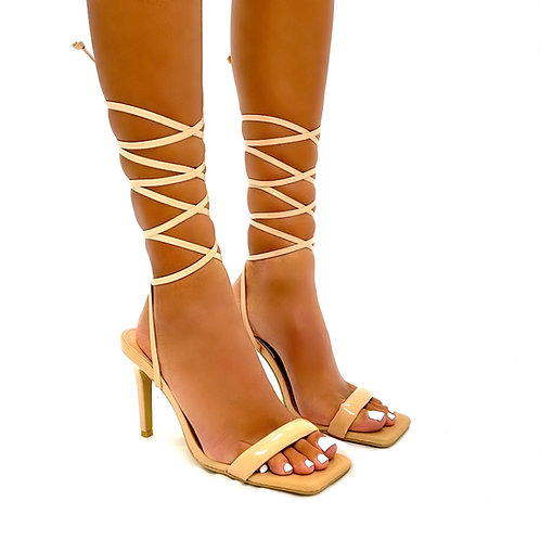 Camilla - Nude Patent with Croc Detail Inner Sole Tie-Up Low Mule Heels