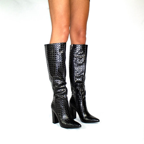 Marilyn- Black Check Print Knee High Cowboy Style Pointed Toe Block Heel Boots