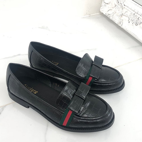 Gaby - Black Pu Croc Print with Bow/ Red and Green Strip Flat Loafer