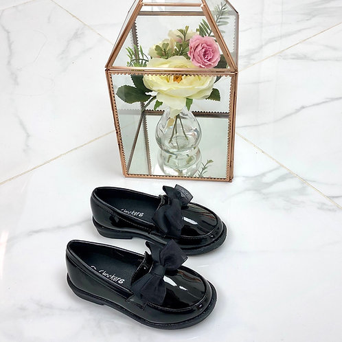 Charlotte - Black Patent with Organza Bow Flat Loafer