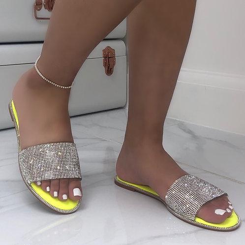 Jada - Neon Yellow Sole Silver Diamante Slip On Slider Sandals