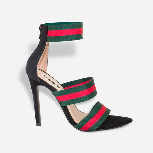 Adrianna - Black Faux Suede With Red and Green Strap Heel