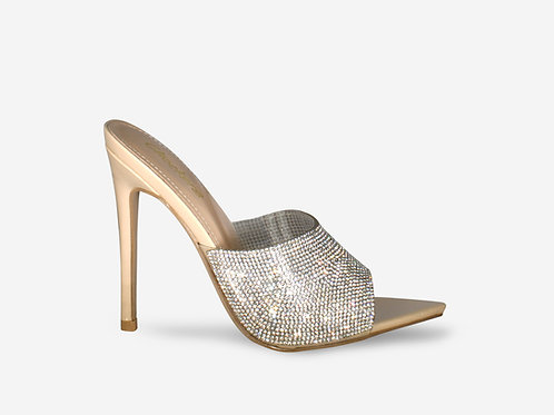Lola - Nude Pointed Toe Diamante Heel
