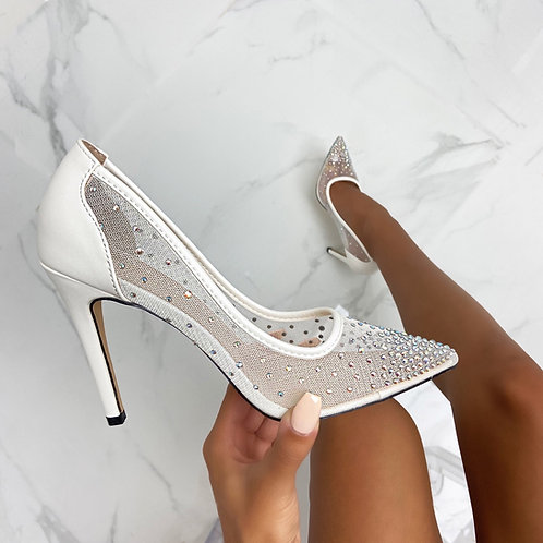 Sofia - White Faux Leather Mesh Diamante Pointed Toe Heels