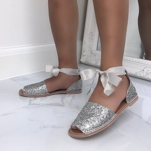 Aariya - Silver Glitter Tie Up Flat Peep Toe Sandal