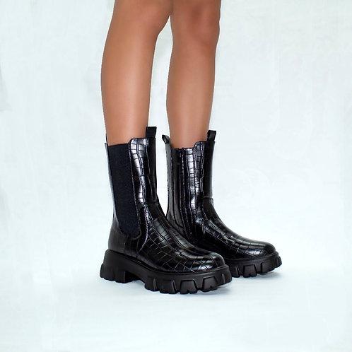 Reece - Black Croc Print Chunky Sole Mid-Length Boots