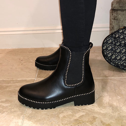 Hailey - Black Faux Leather Silver Ball Ankle Boot