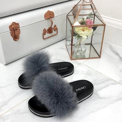 Ellie - Grey Vegan Fur Fluffy Sliders With Diamanté Sole