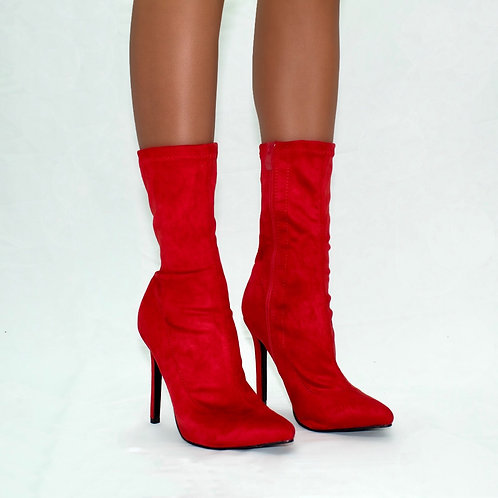 Turner - Red Stretch Faux Suede Zip Up Stilletto Heel Ankle Boots