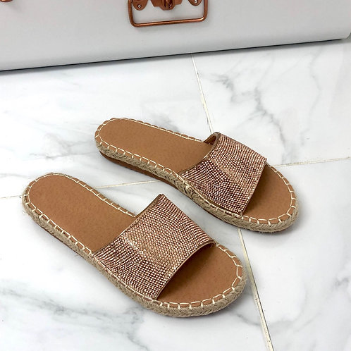 Ruth - Rose Gold Diamanté Woven Sole Flat Slider Sandals