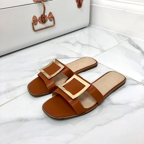 Esmerelda - Tan With Gold Square Detail and Cut Outs Flat Slip On Sandals
